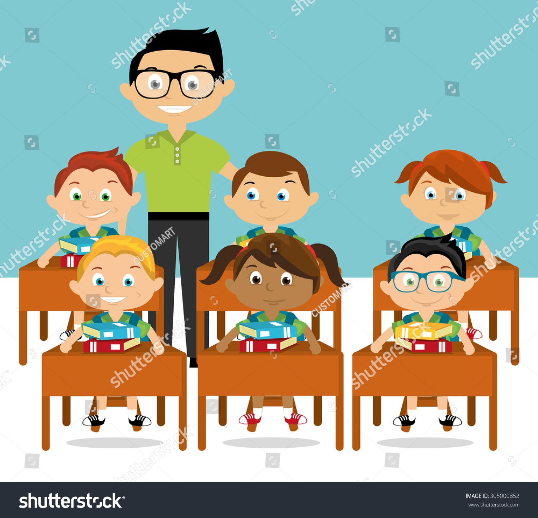 cartoon teacher students stock vector 305000852 shutterstock