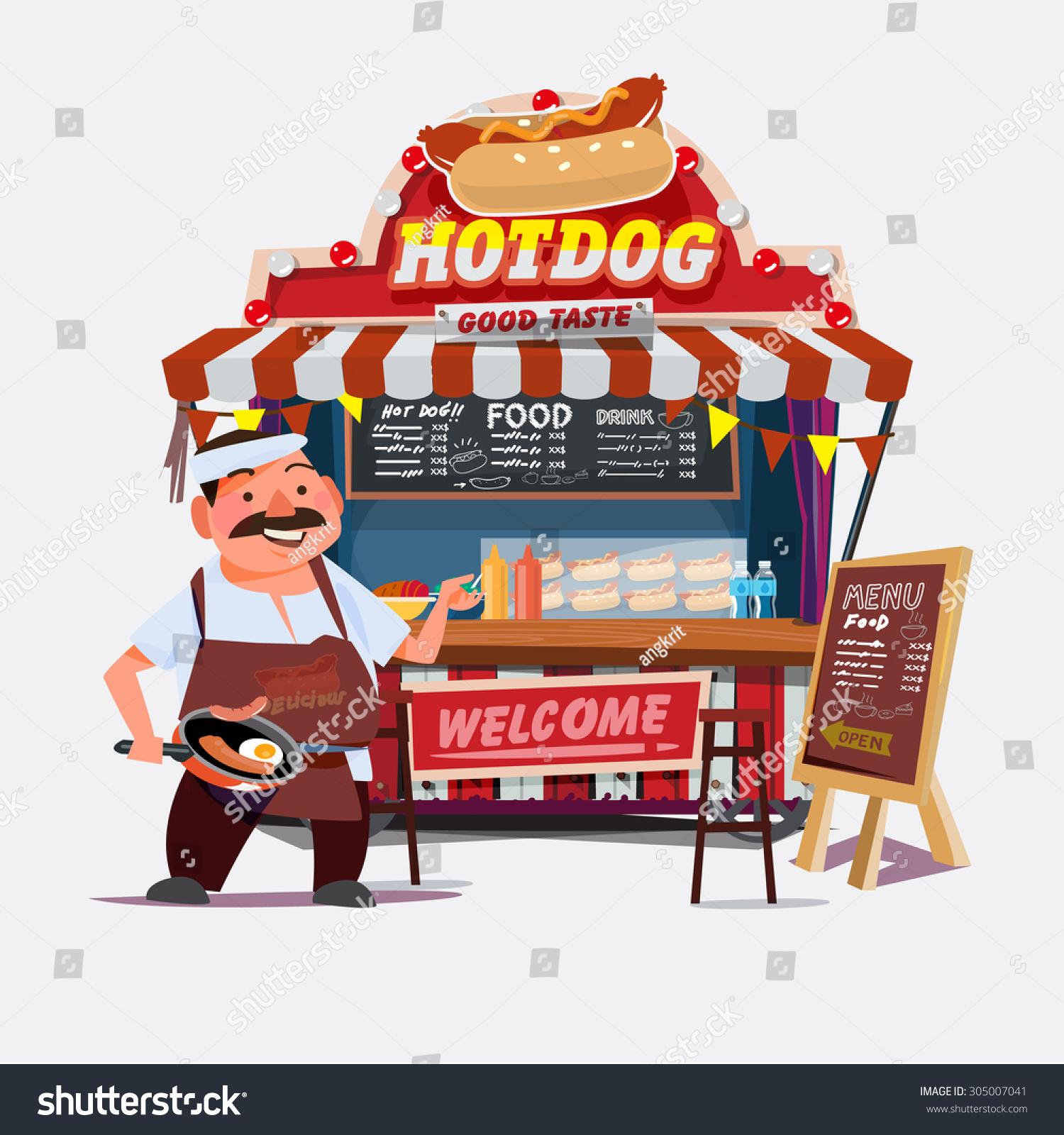 Hotdog Outdoor Cart Seller Chef Character Stock Vector -5164