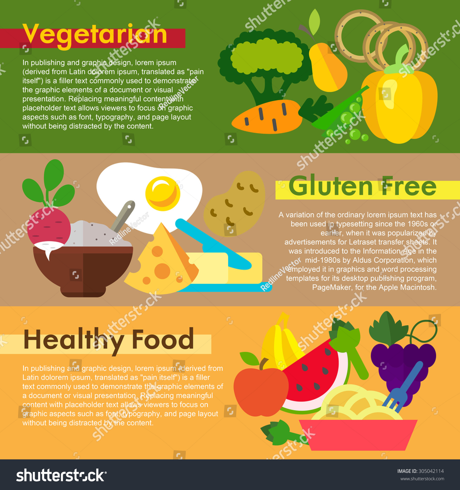 Set of flat design concepts of food types including for Awesome cuisine categories vegetarian