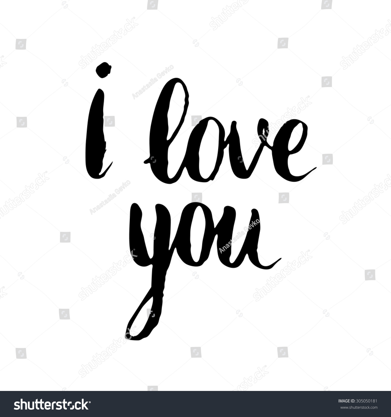 Love you card ink brush hand stock vector