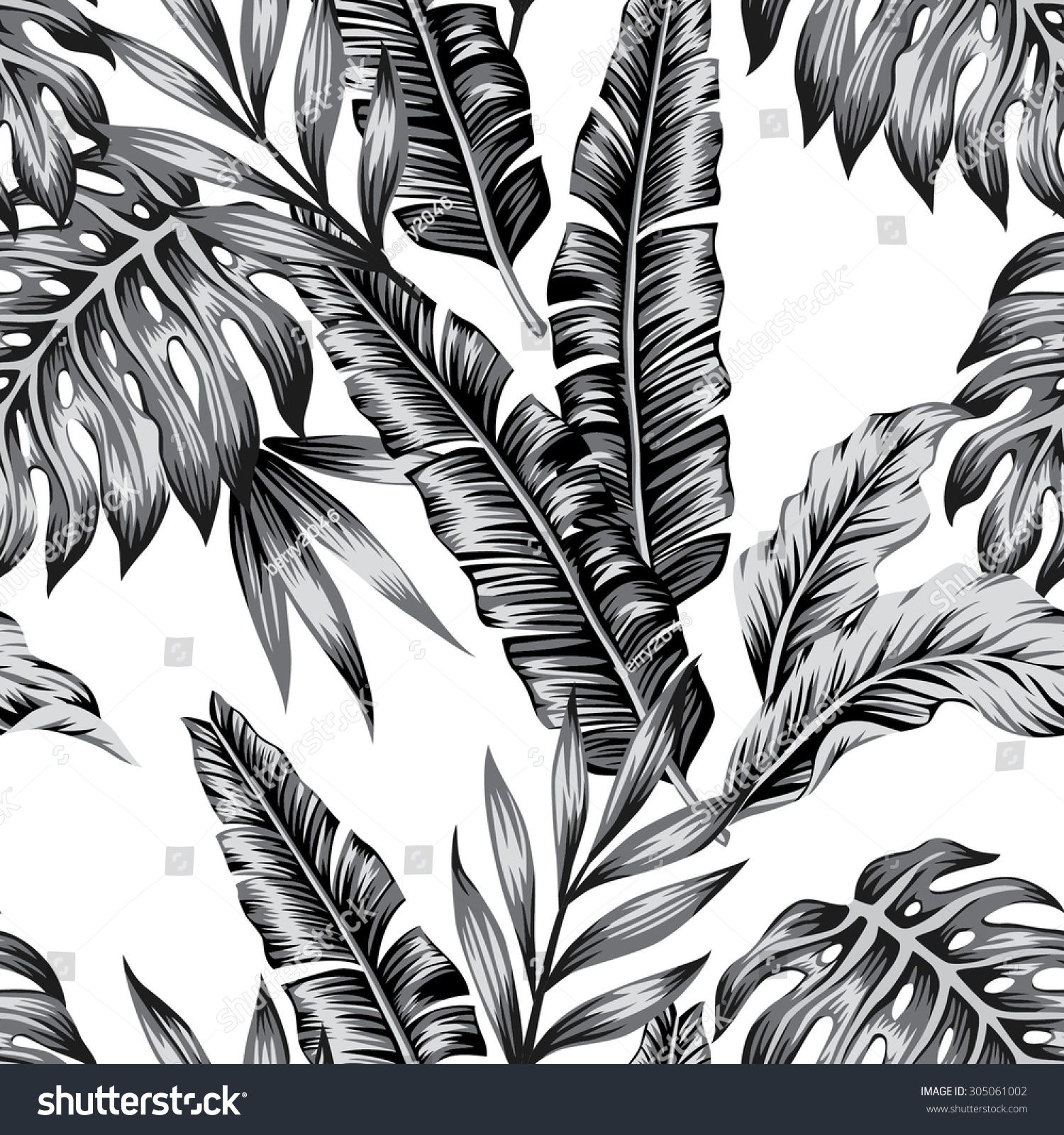 Tropic Plants Floral Seamless Jungle Pattern Print Vector Background Of Fashion Summer Wallpaper Palm Banana