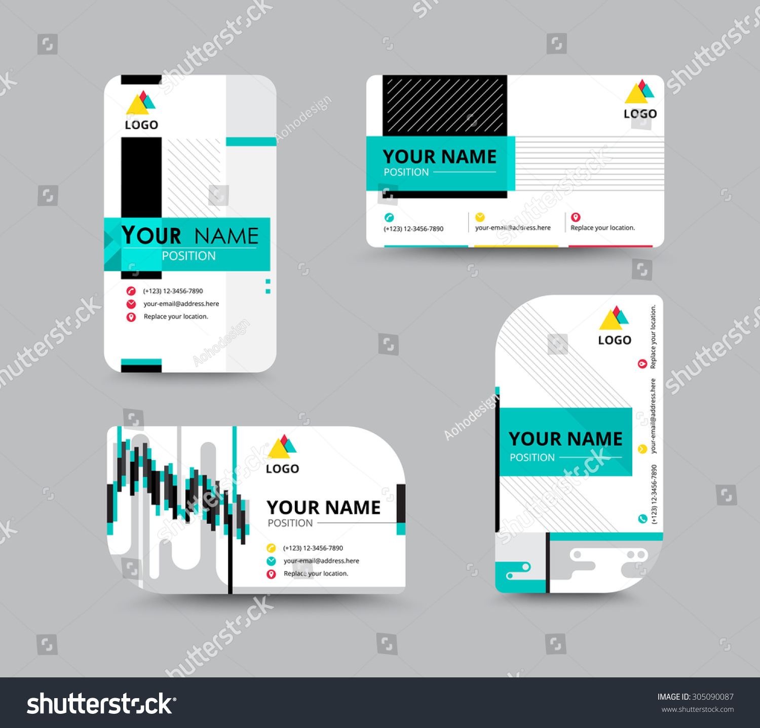 business contact card template design flyer template vector illustration 305090087. Black Bedroom Furniture Sets. Home Design Ideas