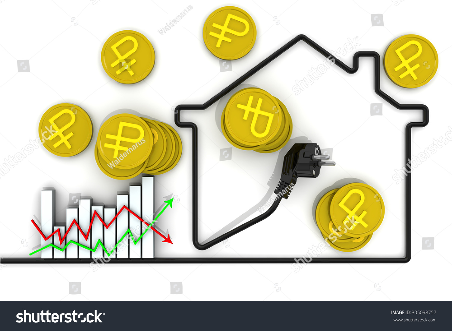 Changes Tariffs Electricity Graph Stock Electrical Wiring In Houses For Contour Made Of