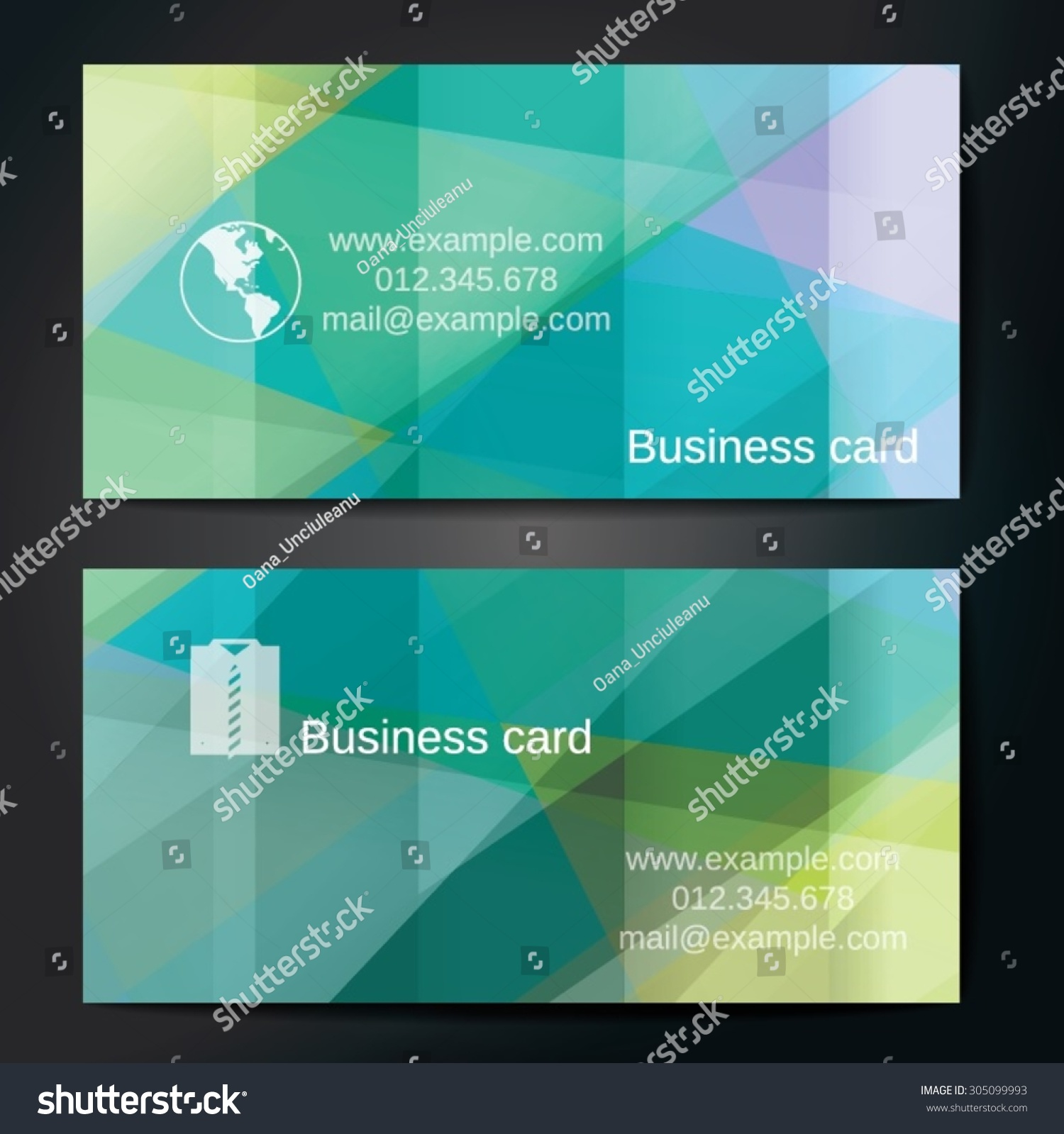 Stylish Business Cards Colorful Straight Stripes Stock Vector ...