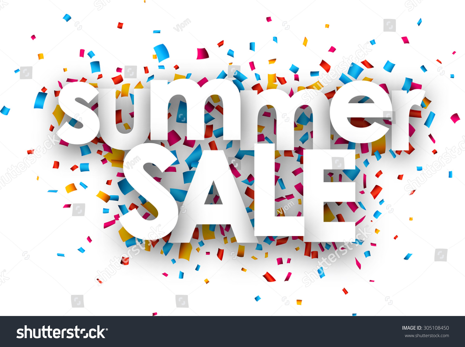 white summer sale sign over confetti stock vector royalty free