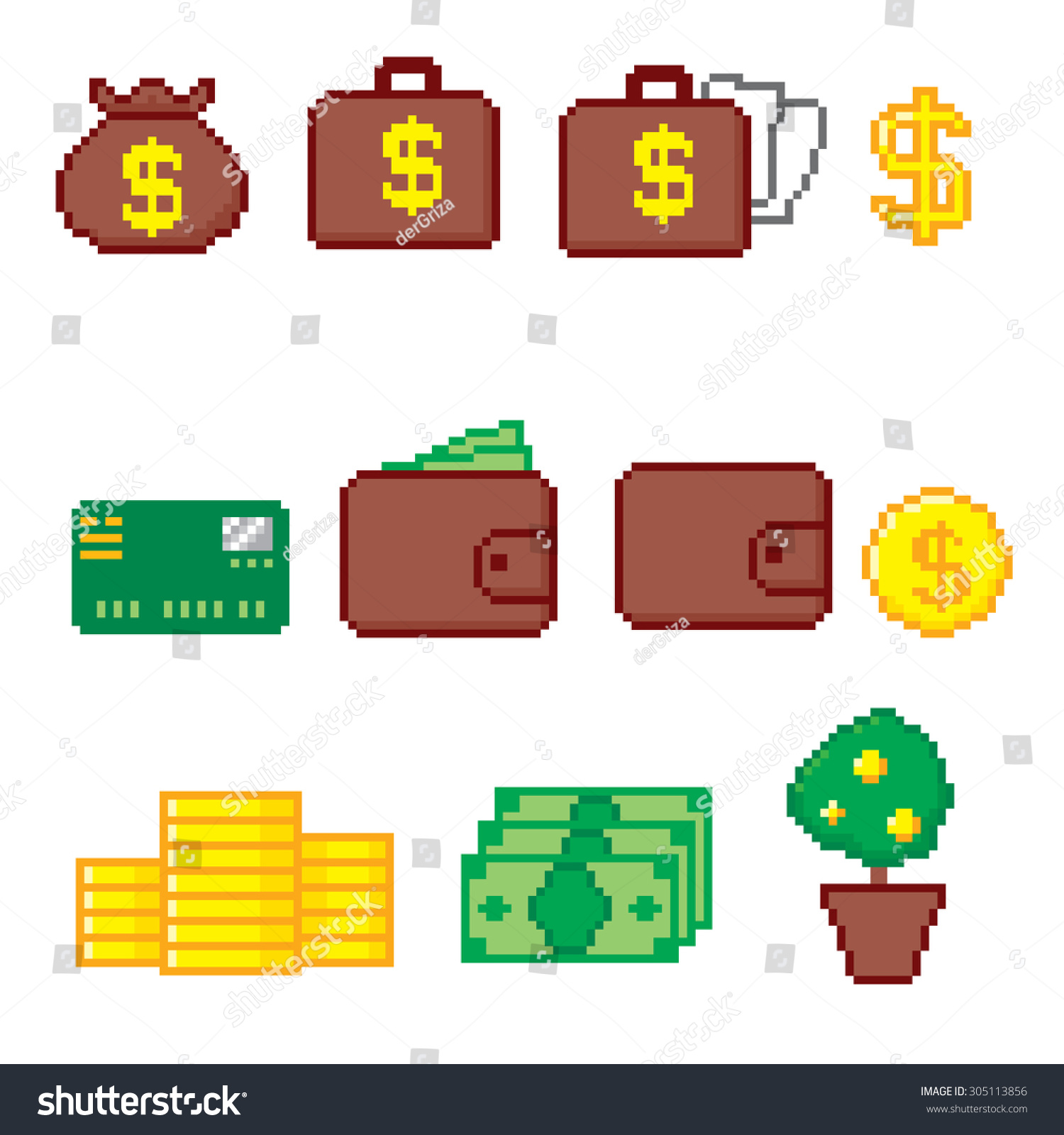 Business and finance icon set Pixel art Old school computer graphic style