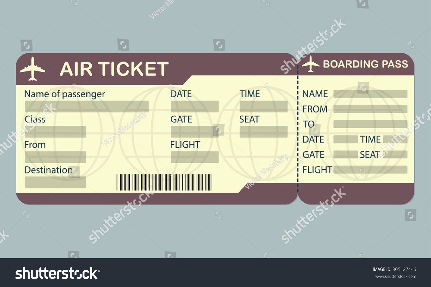 Airline Boarding Pass Ticket Template. Detailed Blank Of Airplane Ticket.  Vector Illustration. #  Airline Ticket Template Free