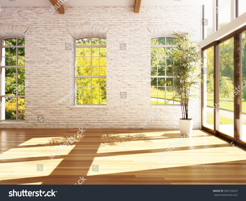 Empty Room Business Residence Hardwood Floors Stock Illustration ...