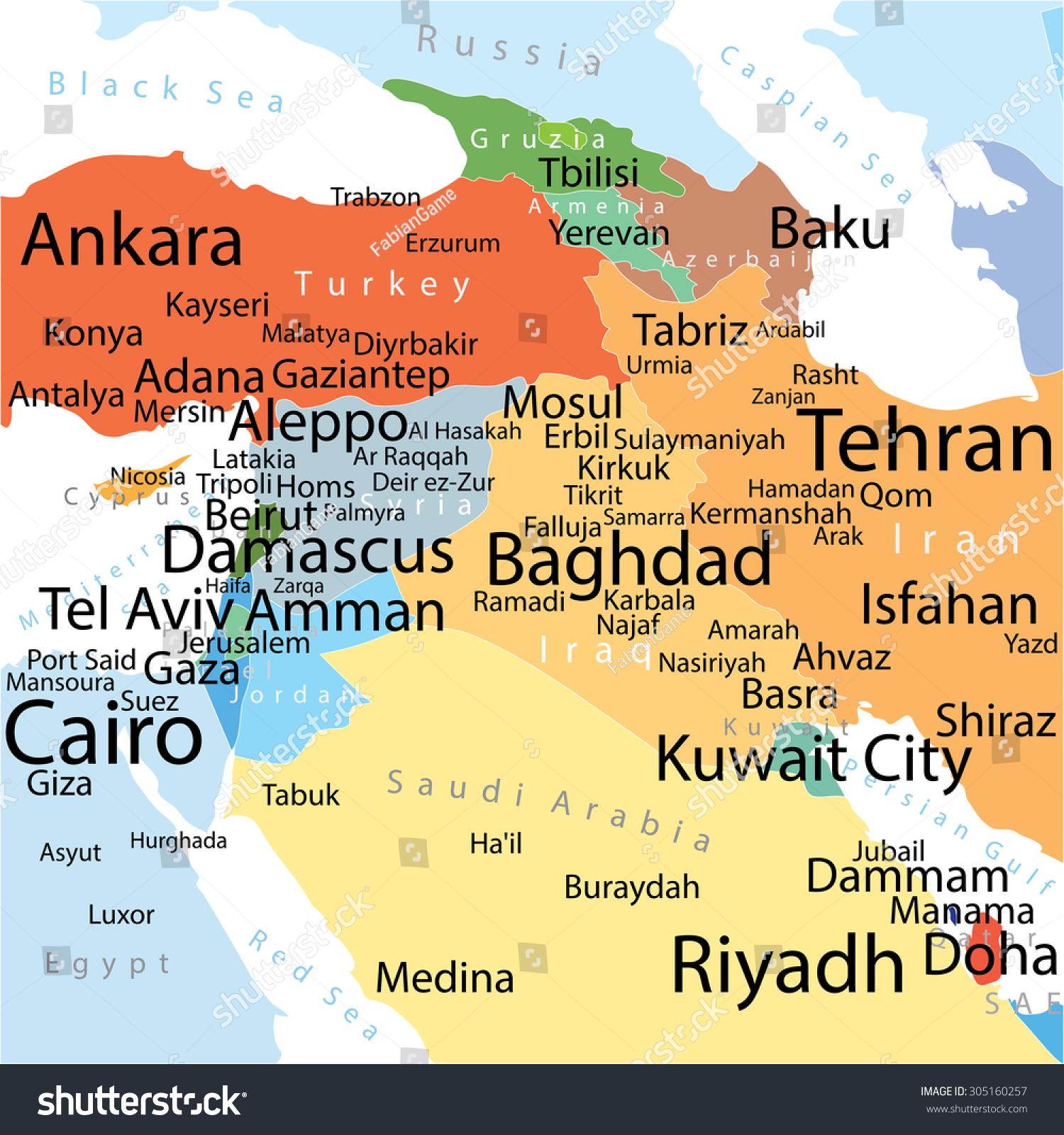 Picture of: Vector De Stock Libre De Regalias Sobre Vector Map Middle East Largest Cities305160257