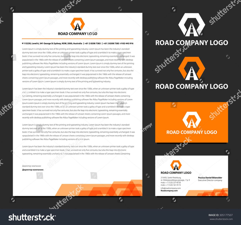 Vector Letterhead Business Card Logo Road Stock Vector