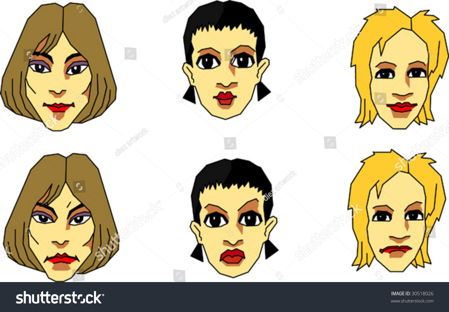 Friendly And Unfriendly Faces Of Women Stock Vector ...
