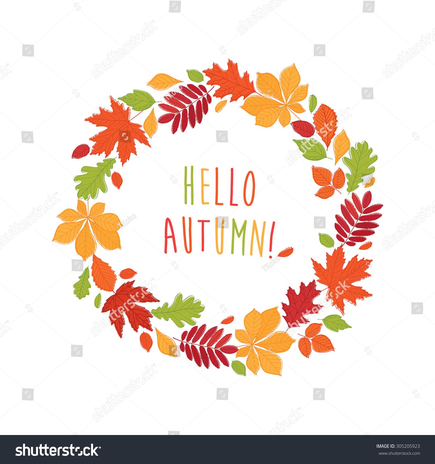 autumnal round frame wreath autumn leaves stock vector