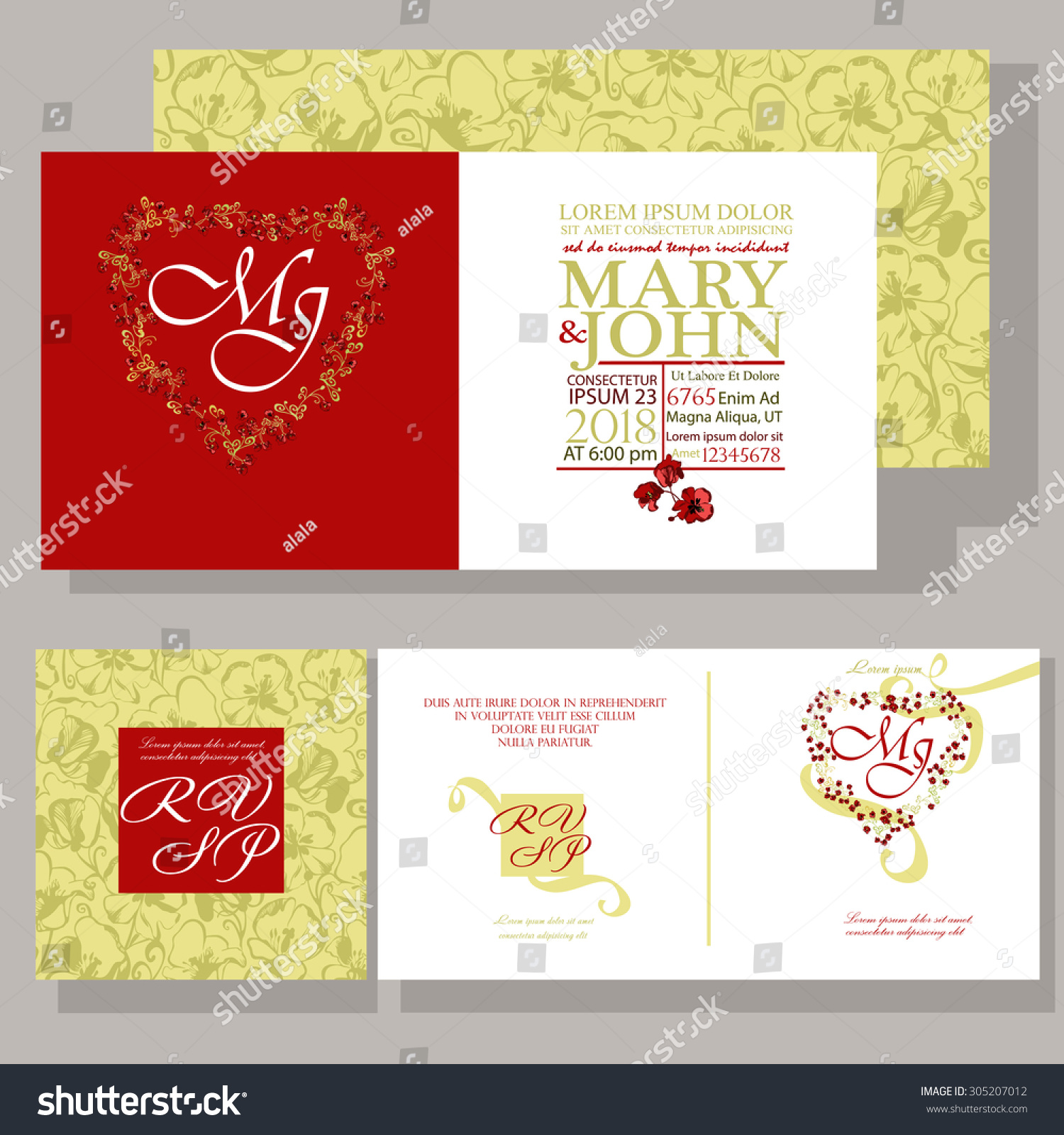 Wedding Invitation Ornamented Bright Red Flowers Stock Vector ...
