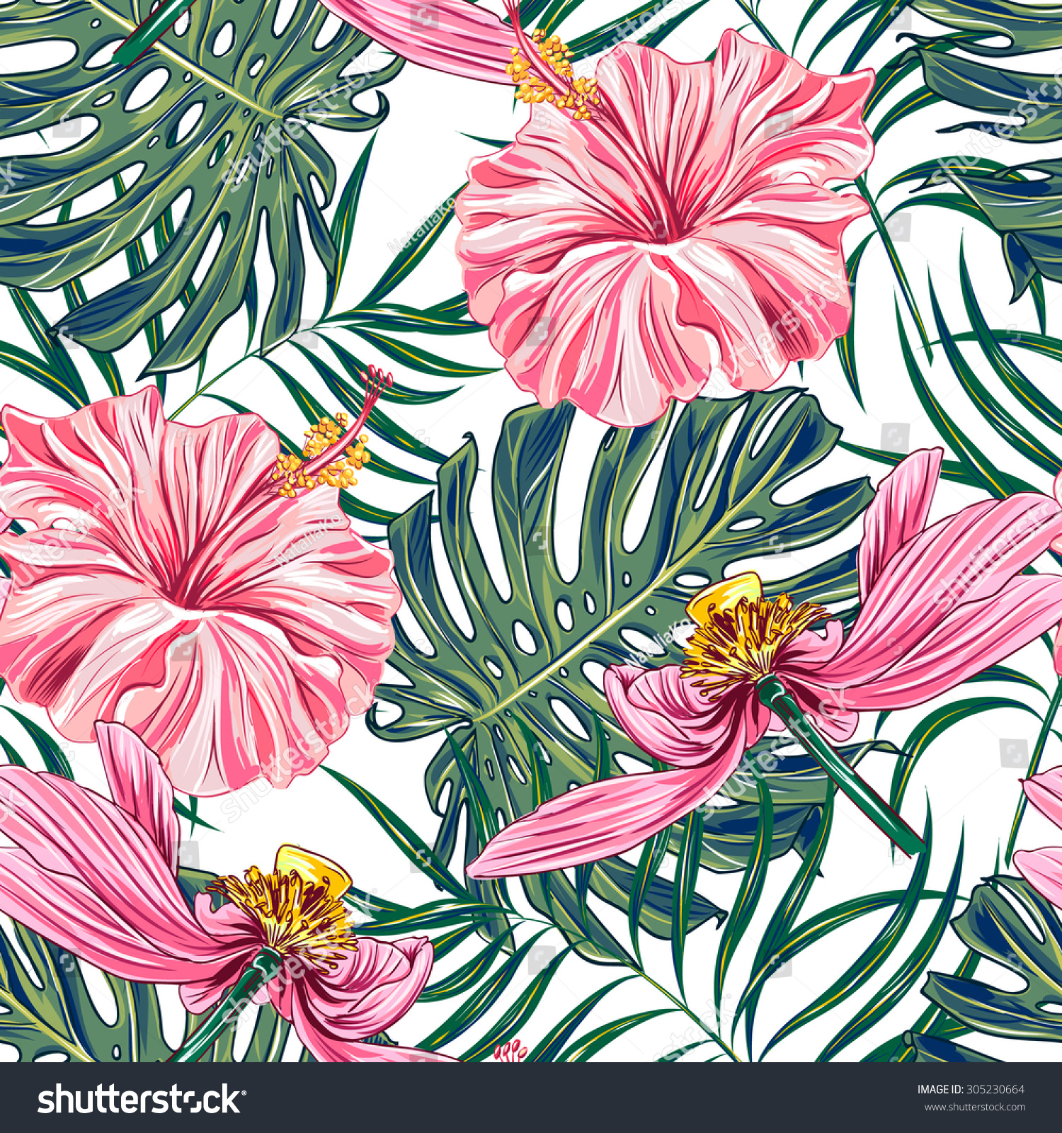 Tropical Flowers Palm Leaves Hibiscus Pink Stock Vector