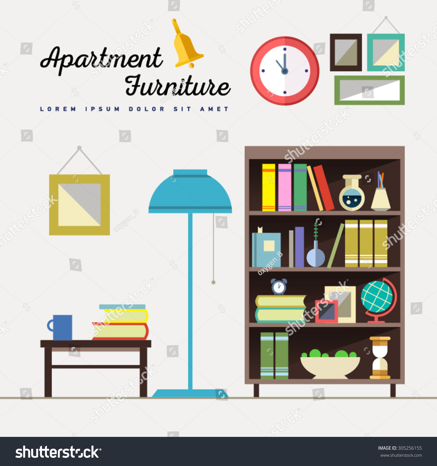 Home furniture interior design set elements stock vector 305256155 shutterstock - Home design elements ...