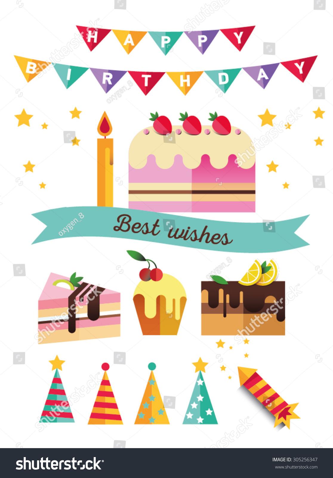 Set Flat Catoon Birthday Party Elements Stock Vector 305256347