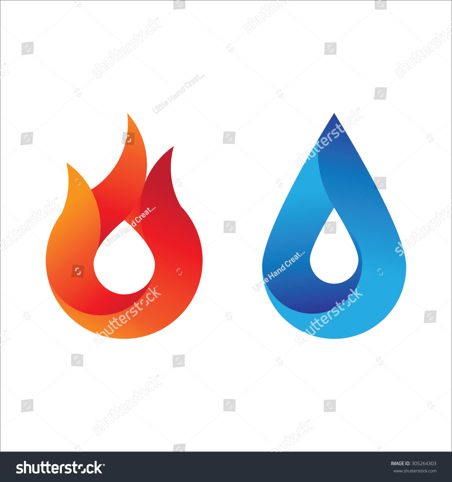 Modern style fire water logo gradient stock vector 305264303 modern style fire and water logo with gradient effect abstract symbol of the two main biocorpaavc Choice Image