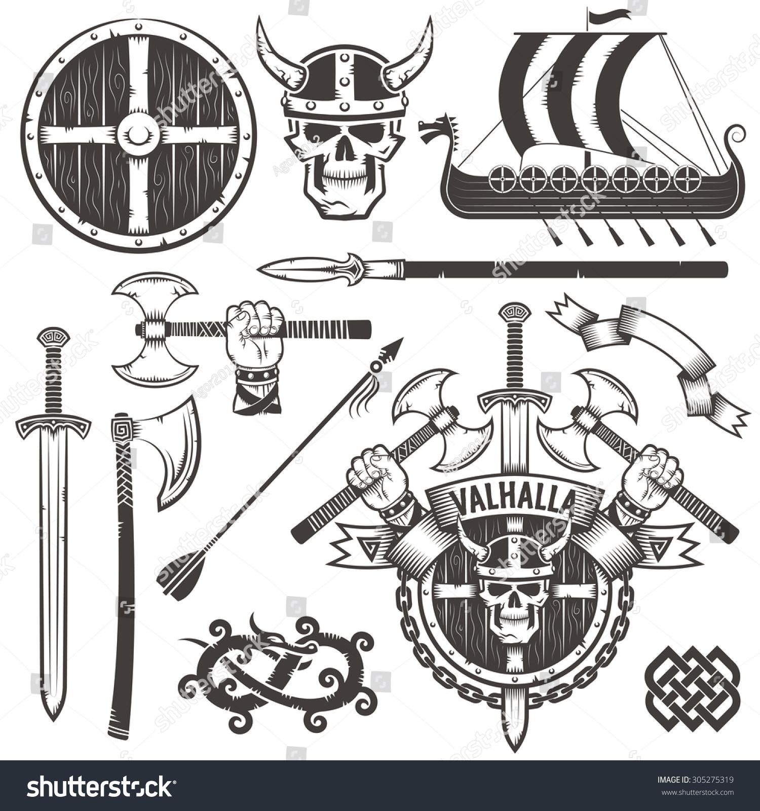 coat arms vikings logo valhalla emblem stock vector 305275319 shutterstock. Black Bedroom Furniture Sets. Home Design Ideas