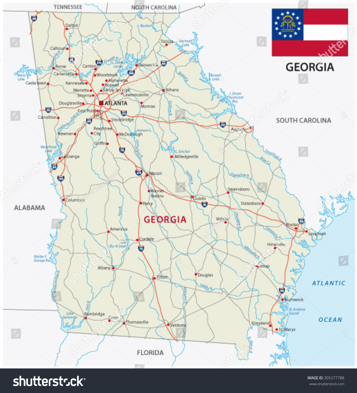 Georgia Road Map Flag Stock Vector Shutterstock - Map of georgia roads