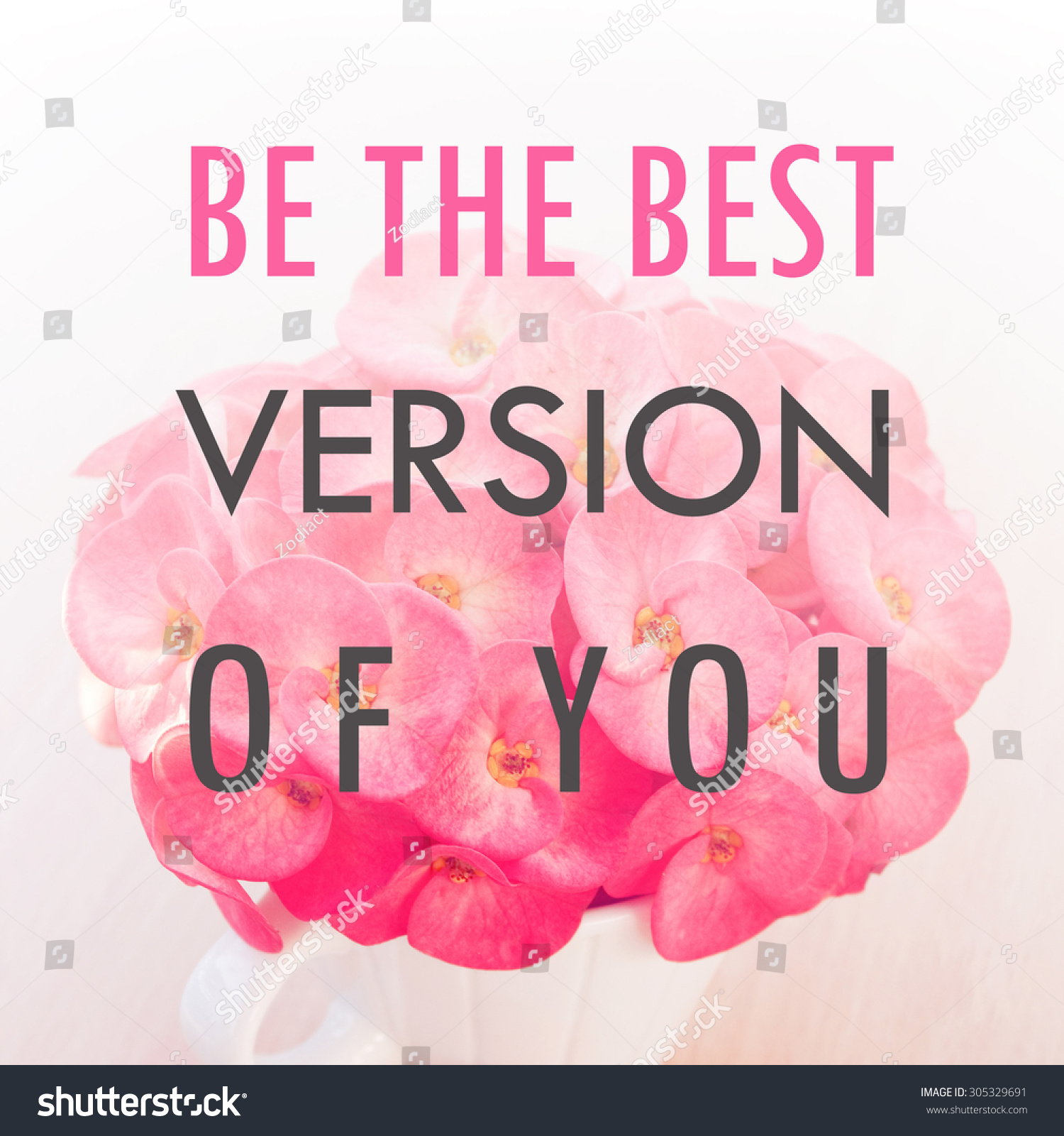 Inspiration Motivational Life Quotes On Flowers Stock Photo Edit
