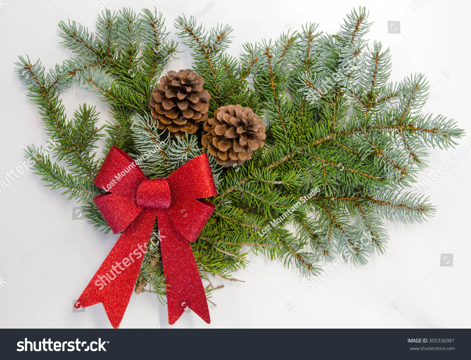 A Greenery Christmas Bough With A Red Bow And Pine Cones Stock ...