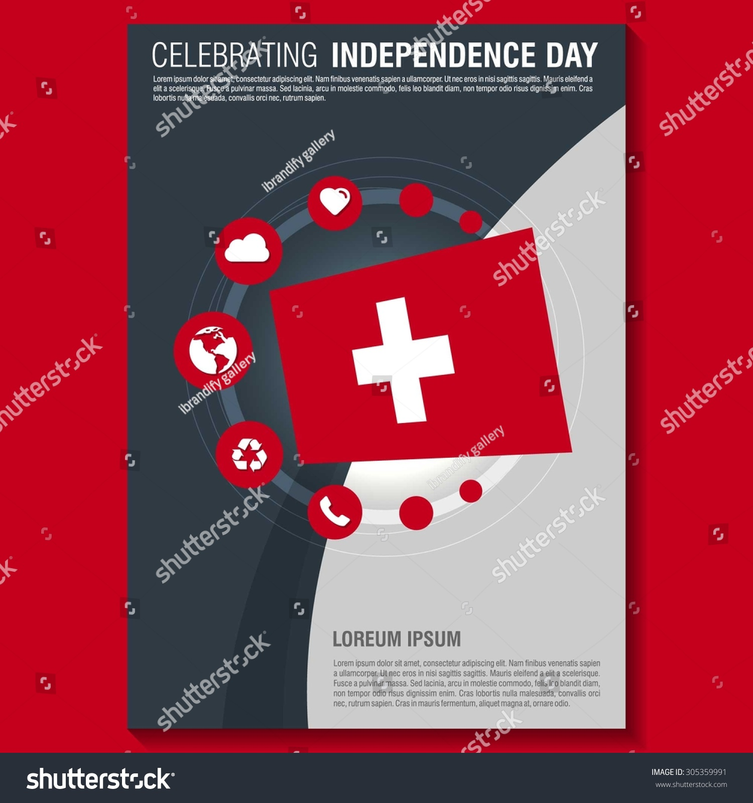 Vector Switzerland Independence Day Flyer Template Stock Vector ...
