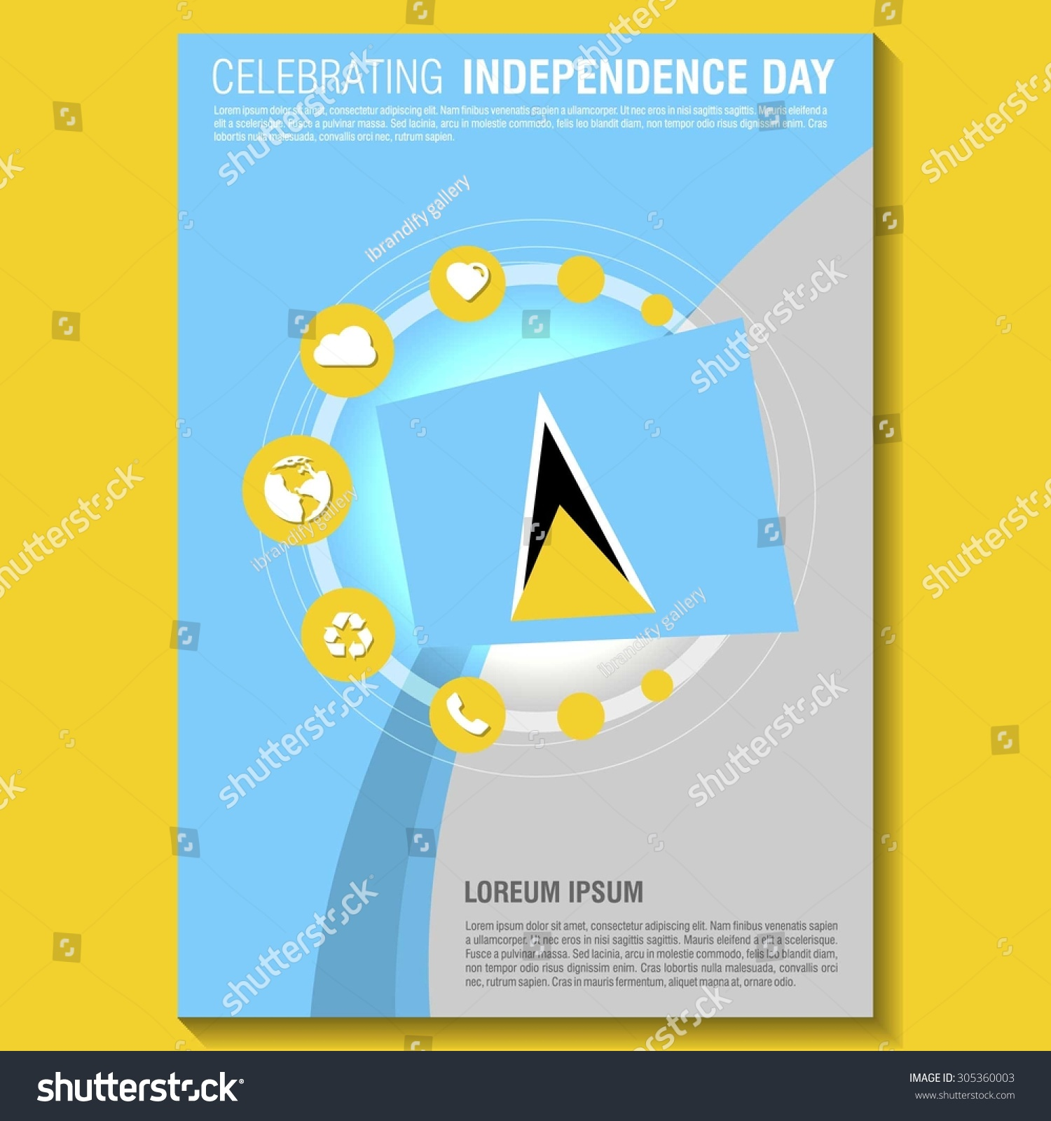 vector saint lucia independence day flyer stock vector  vector saint lucia independence day flyer template creative brochure title page national day leaflet