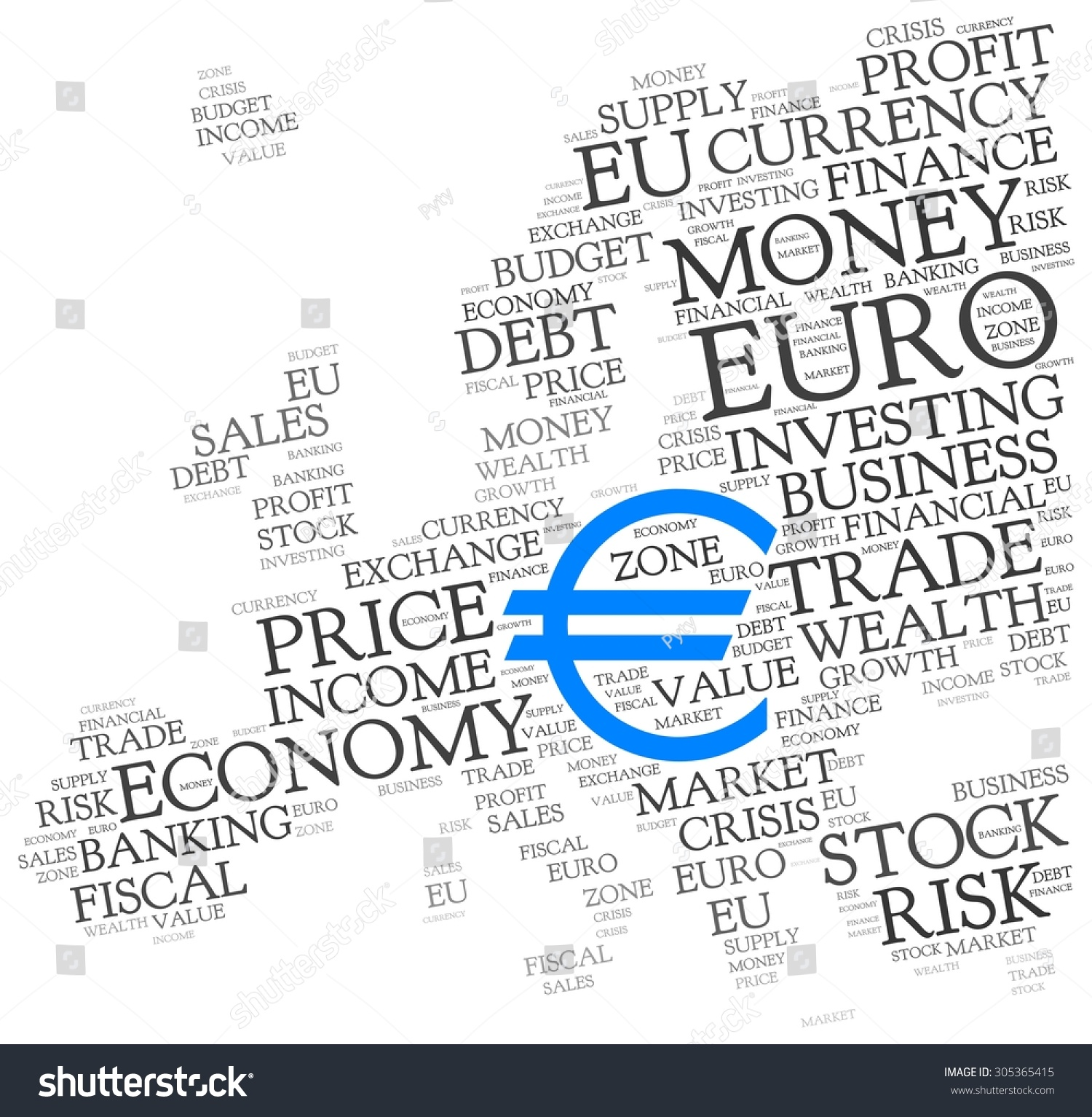 Euro Word Cloud Blue Symbol Currency Stock Vector 305365415