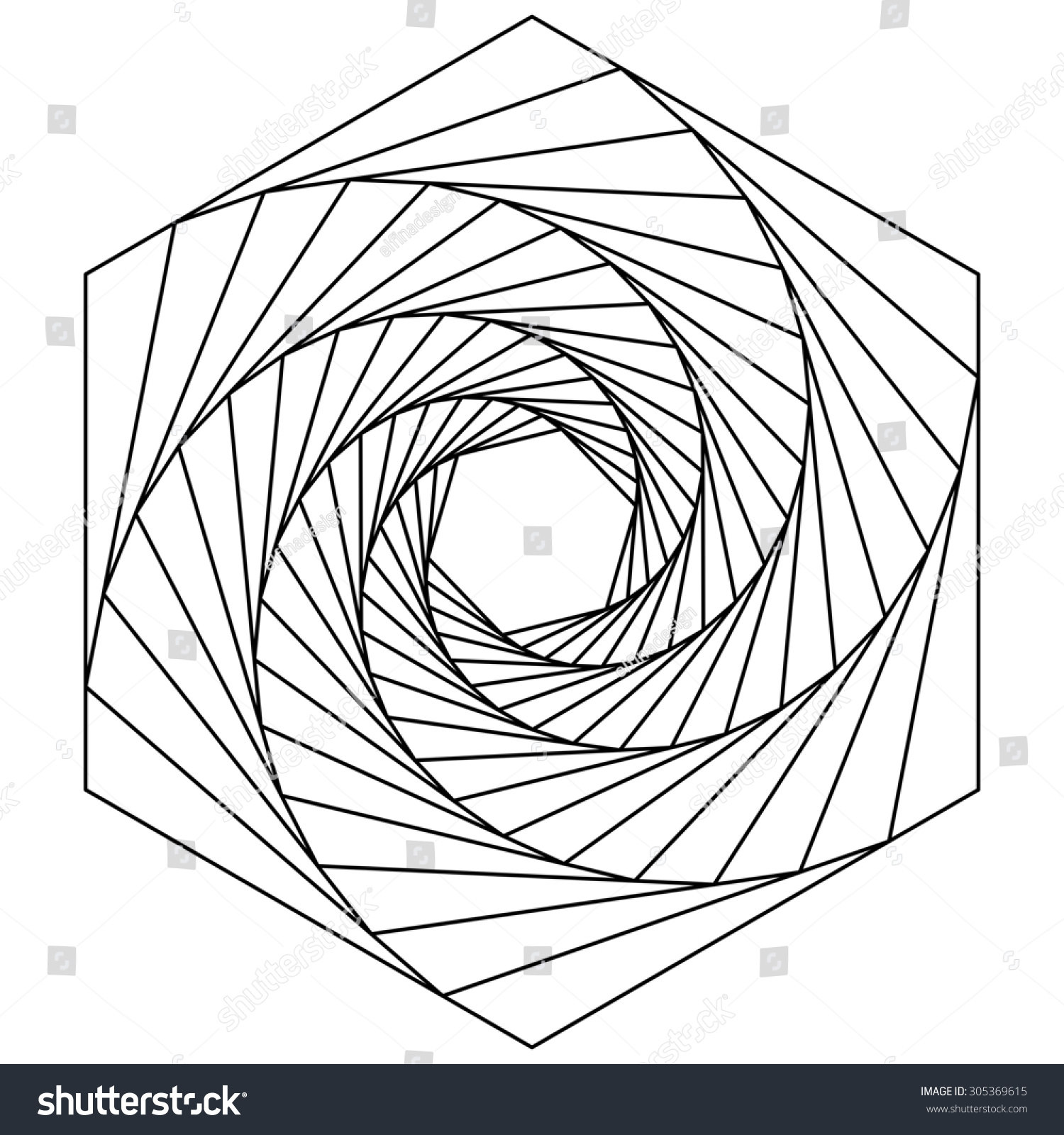 Vector Drawing Lines Game : Hexagon spiral line drawing logo design stock vector