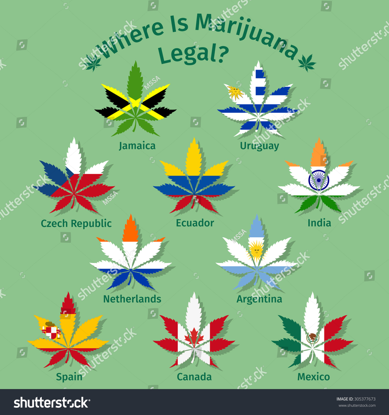 marijuana leaves international flags netherlands czech stock