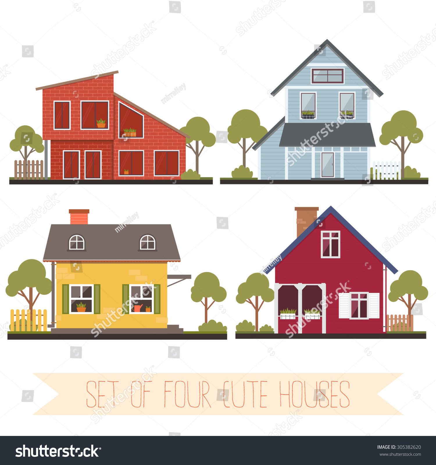 Set four cute houses trees vector stock vector 305382620 for Cute house images
