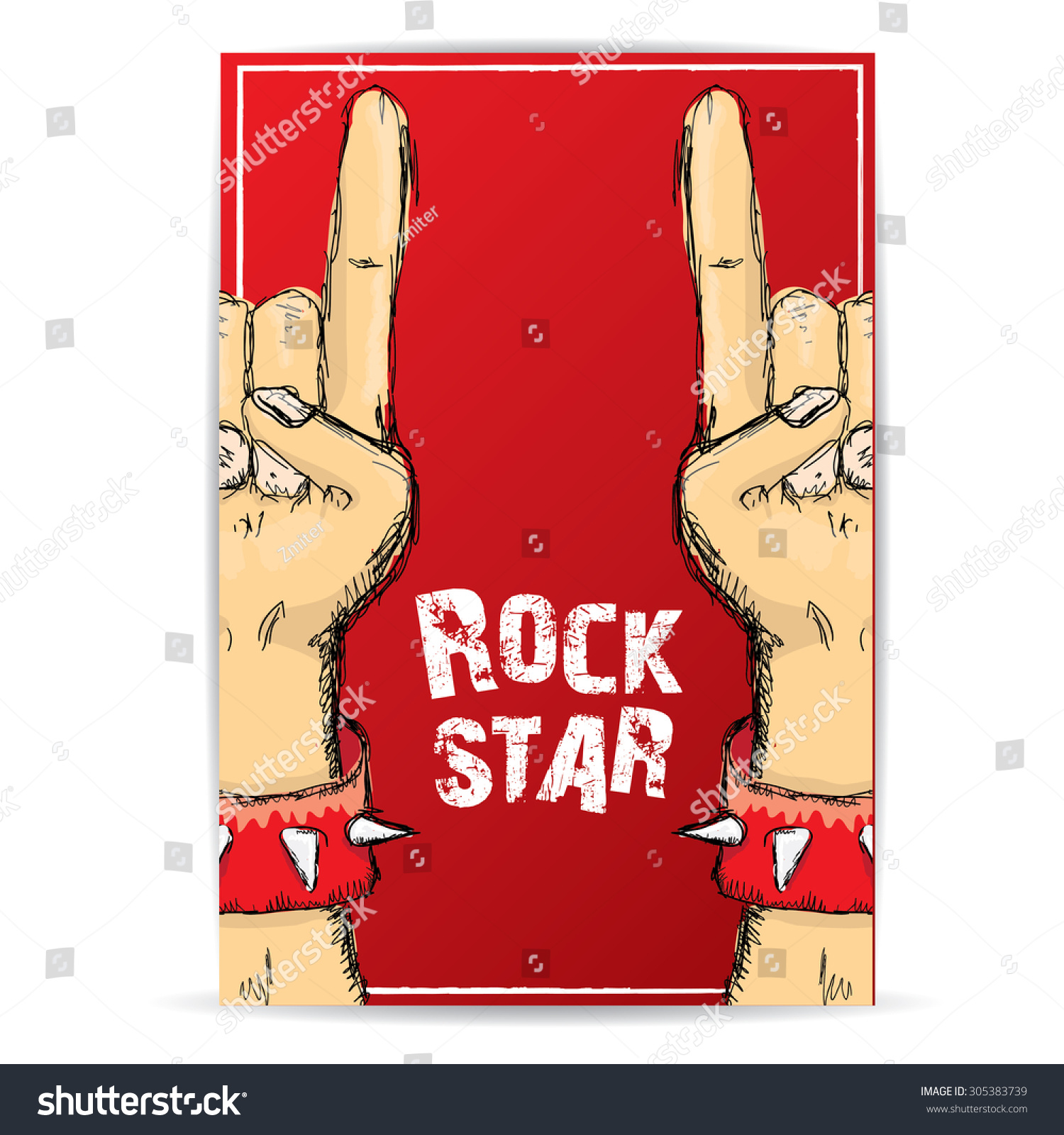 Rock n roll poster design - Vector Doodle Hand Sign Rock N Roll Music On White Rock N Roll Icon