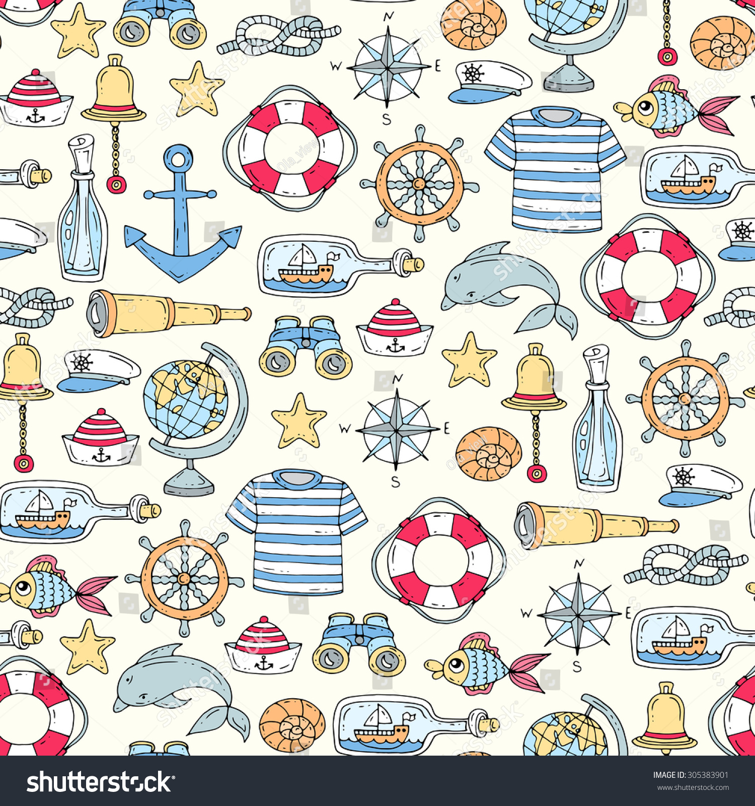 Anchor And Release Clothing >> Vector Seamless Pattern On Theme Sea Stock Vector 305383901 - Shutterstock