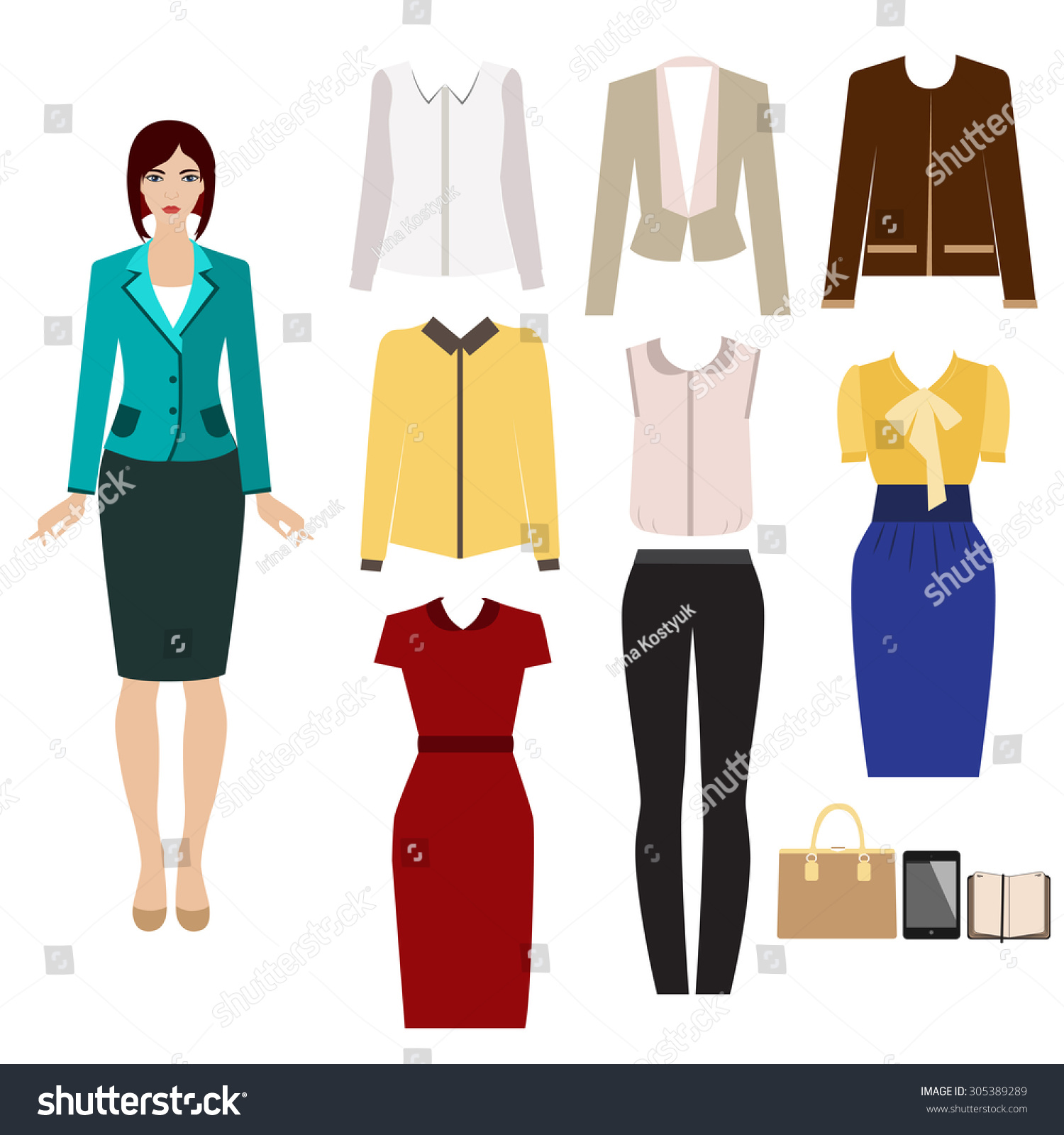 Business Outfit Paper Doll Set Elegant Stock Vector