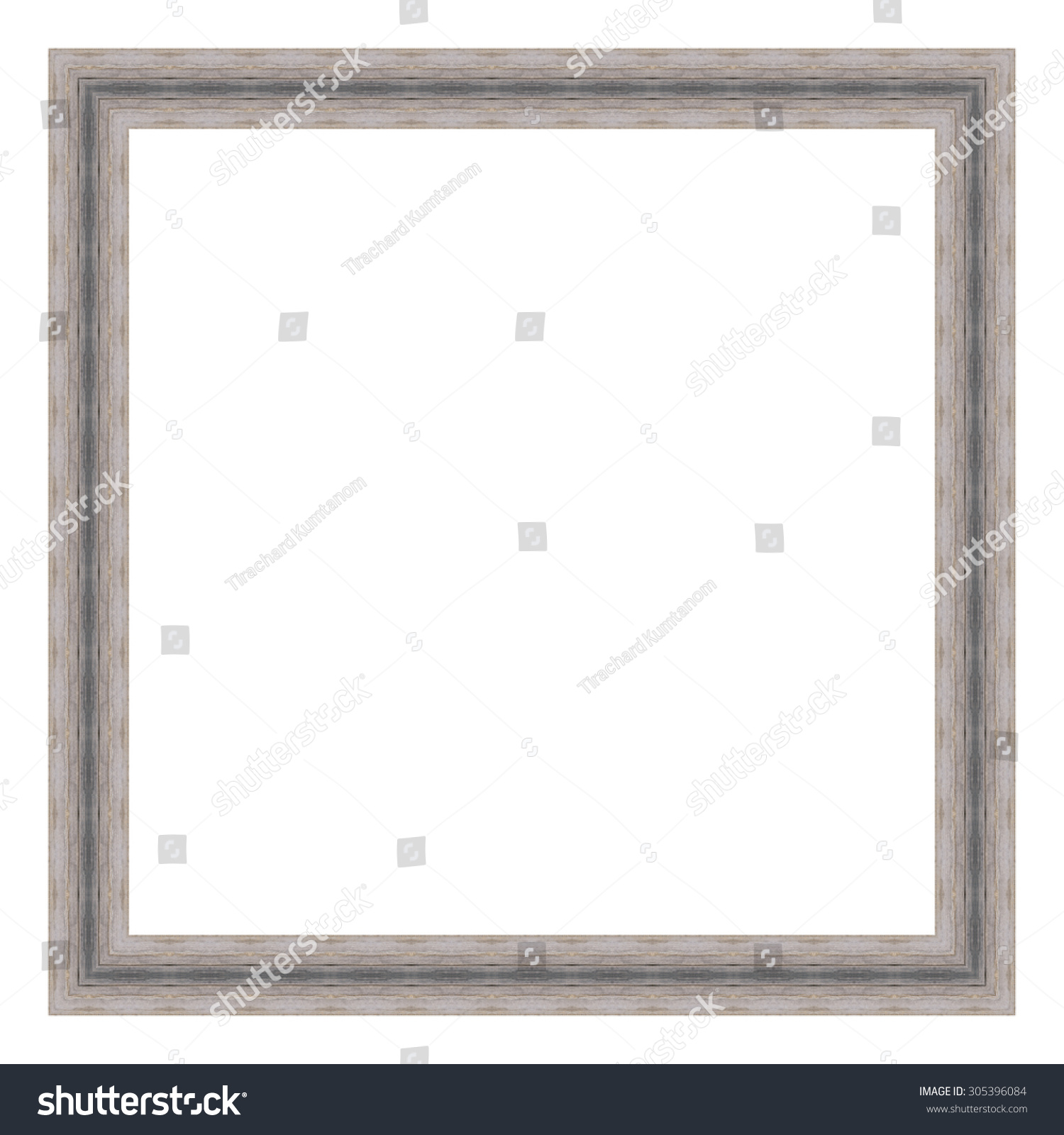 Grey Wooden Frame Isolated On White Stock Photo (Edit Now) 305396084 ...