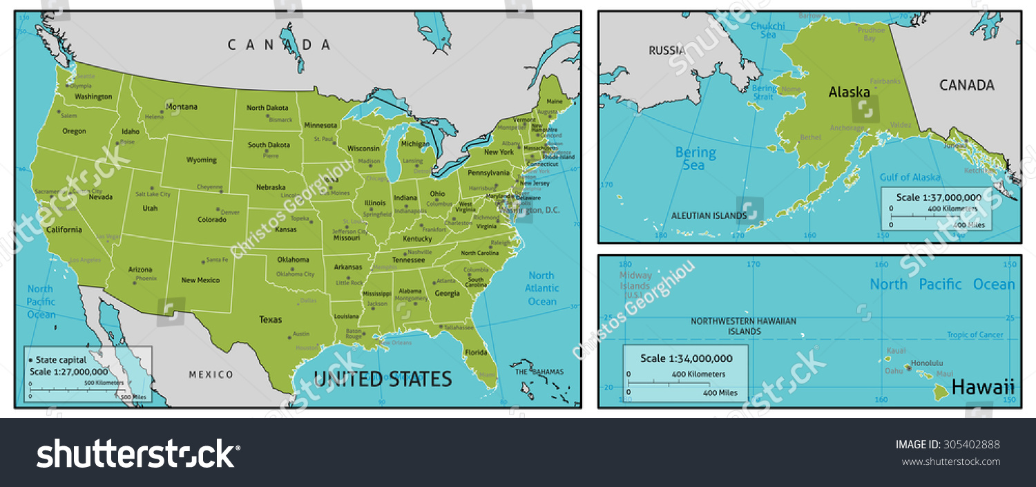 A Map Of America State Names State Capitals And Other Major - Map usa state capitals
