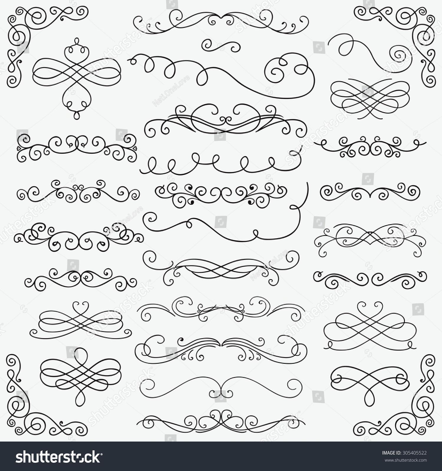 Rustic Scroll Design: Set Black Hand Drawn Rustic Doodle Stock Vector 305405522