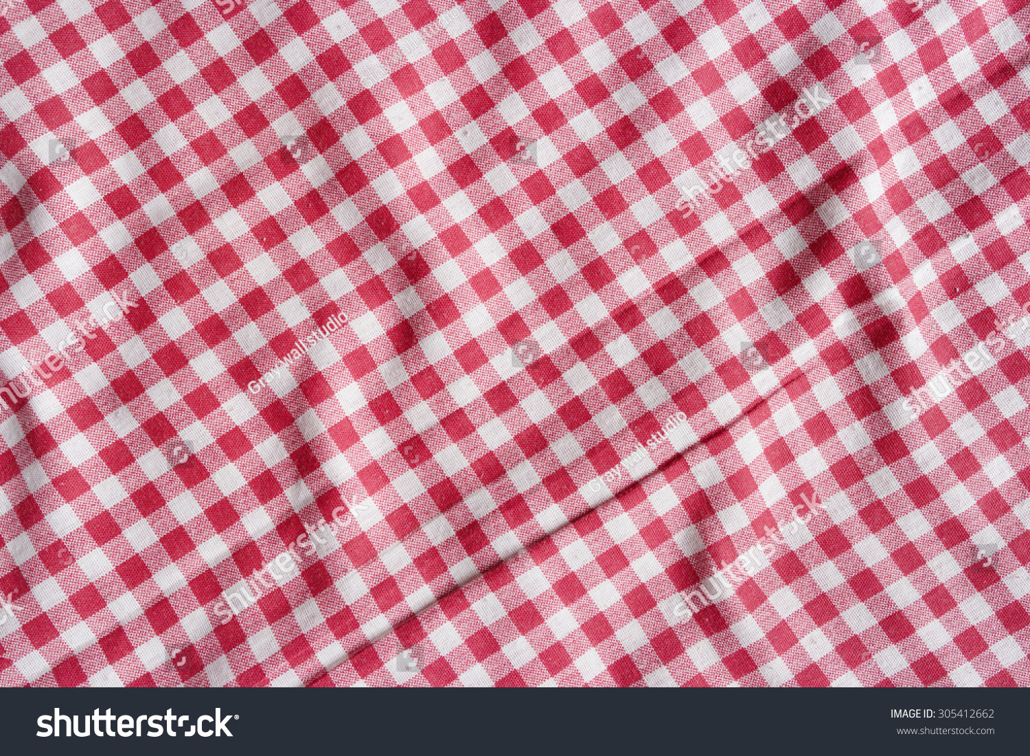 Red Picnic Tablecloth Background. Red And White Checkered Fabric Texture