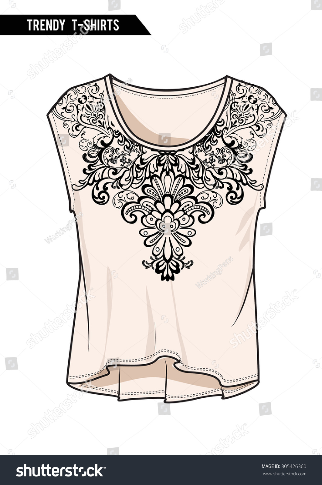 Neck print with trendy women top for fashion and other uses in vector