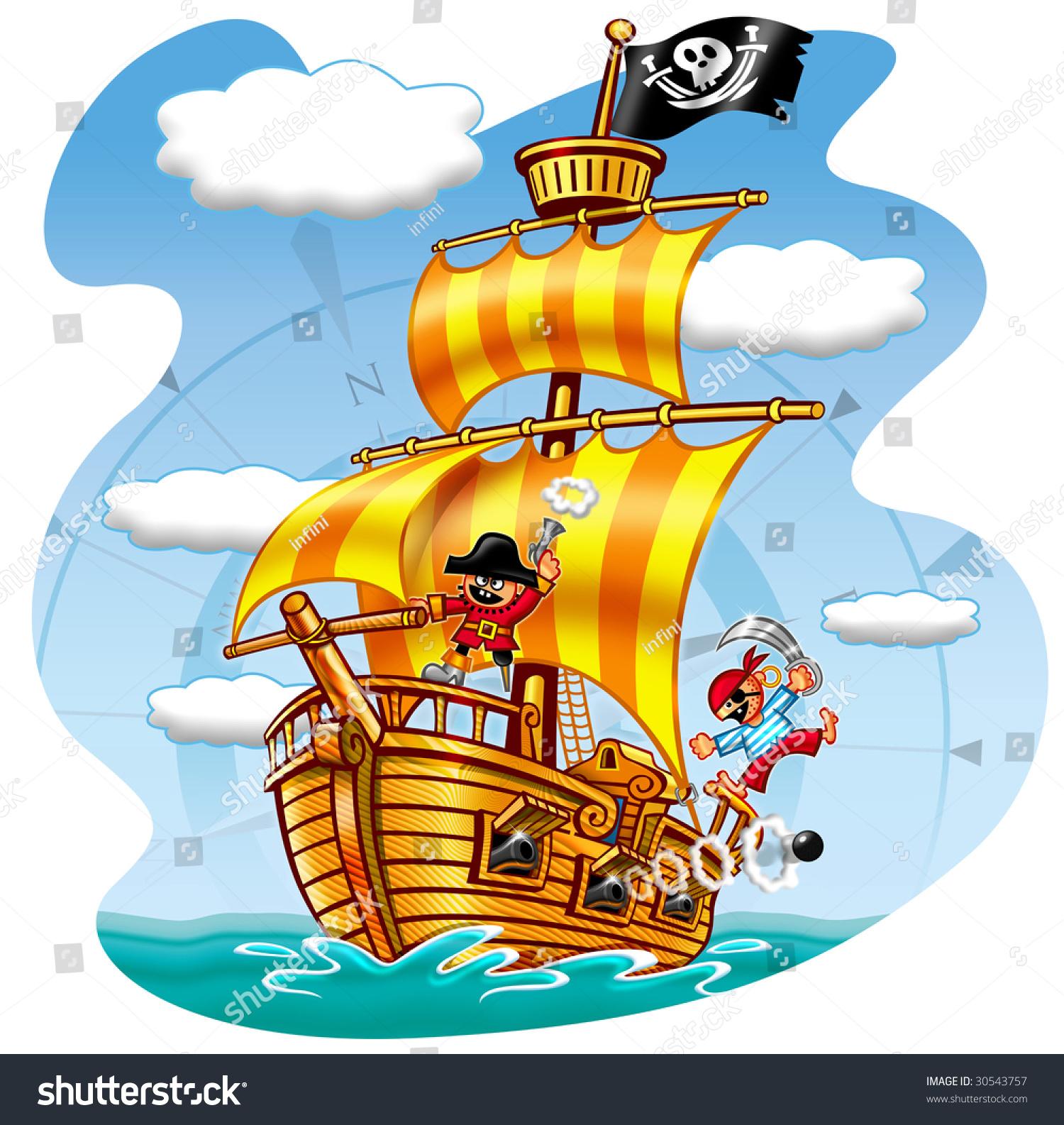 Cartoon Pirates Ship Stock Photo 30543757 : Shutterstock