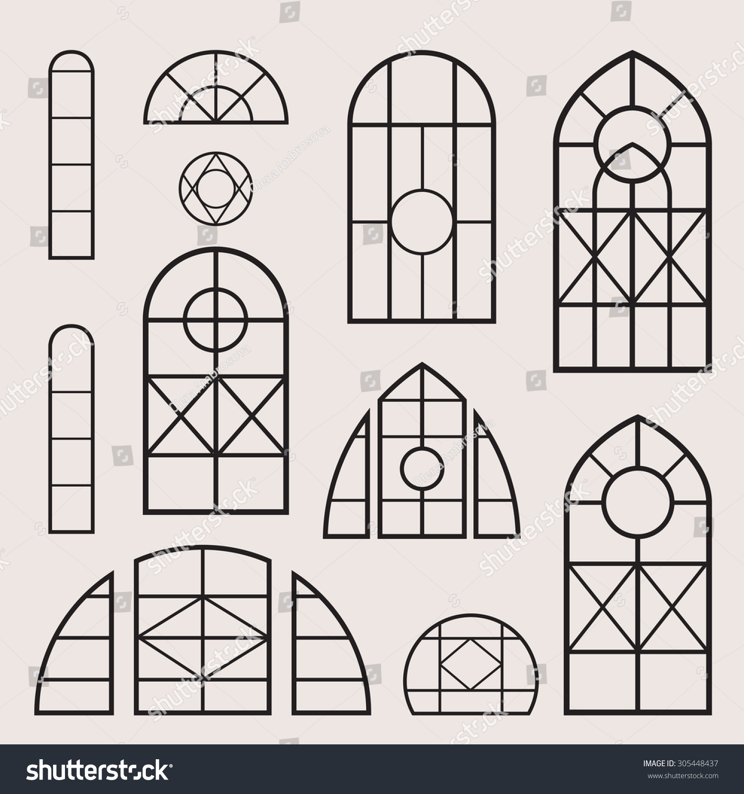 a vector set of vintage window frames
