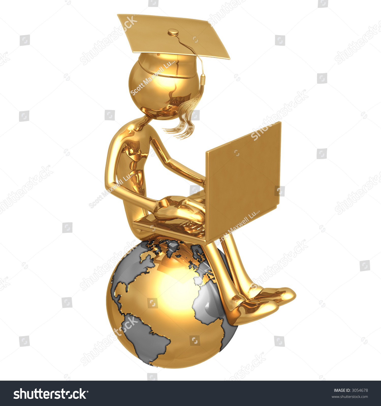 golden grad on top of the world with laptop online education graduation concept stock photo. Black Bedroom Furniture Sets. Home Design Ideas