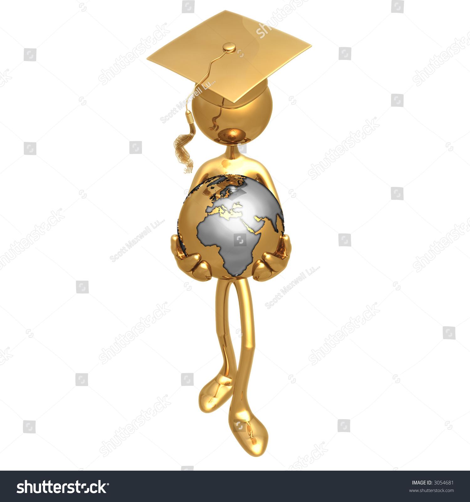 golden grad with world in hands graduation concept stock photo 3054681 shutterstock. Black Bedroom Furniture Sets. Home Design Ideas