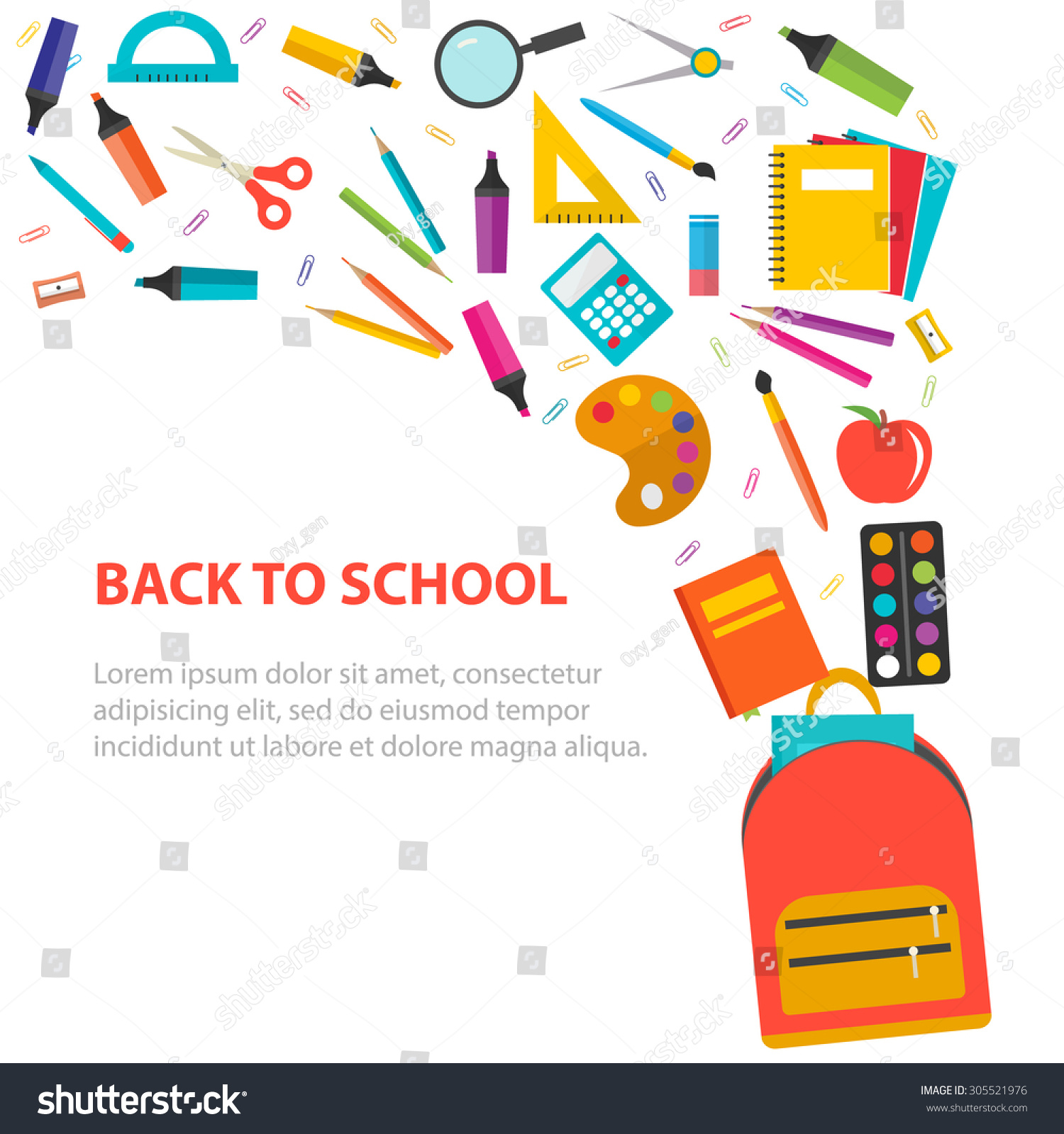 Back School Background School Supplies Set Stock Vector ...