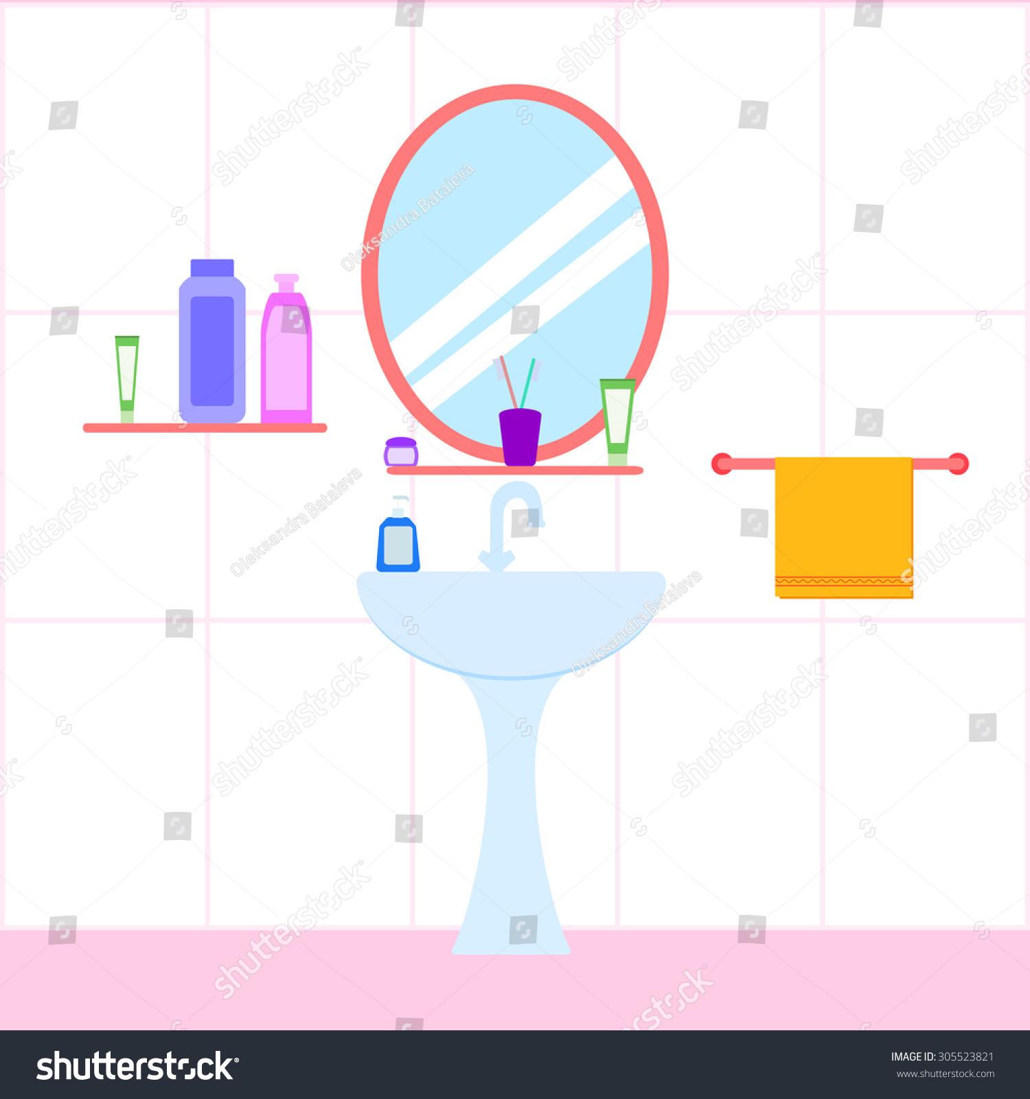 Flat Bathroom Sink Mirror Bottle Soap Stock Vector 305523821 ... for Bathroom Sink Toothbrush Clipart  103wja
