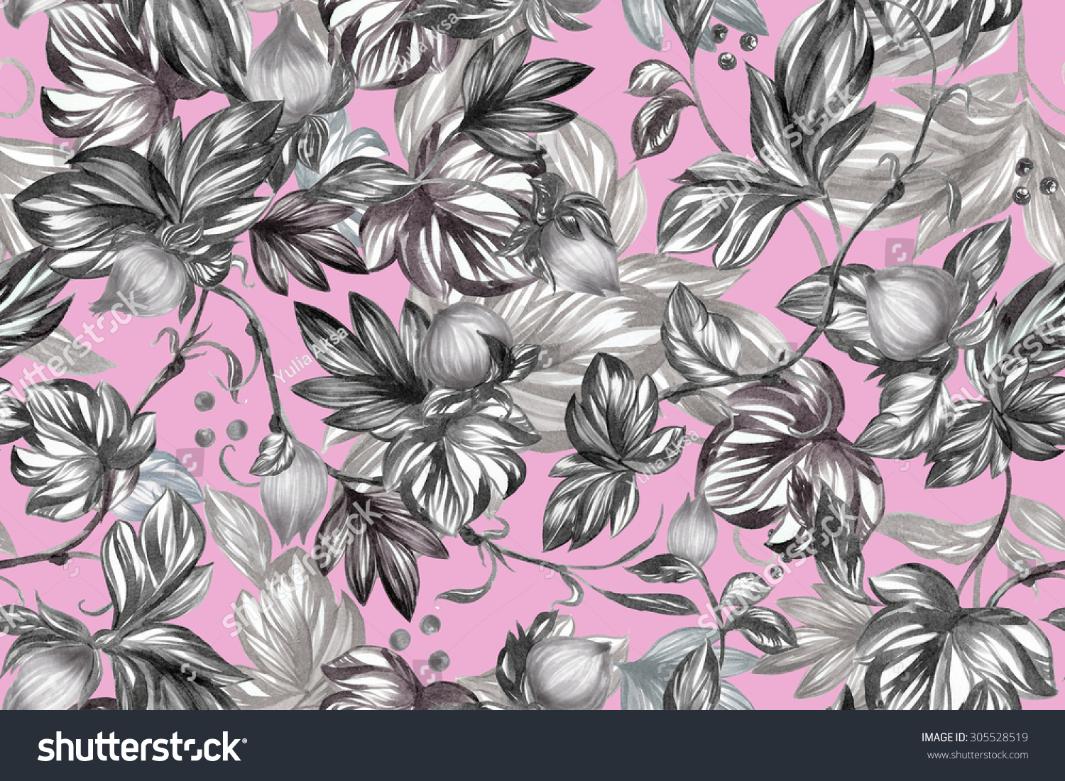Spring Floral Background Black And White Flowers And Petals On A