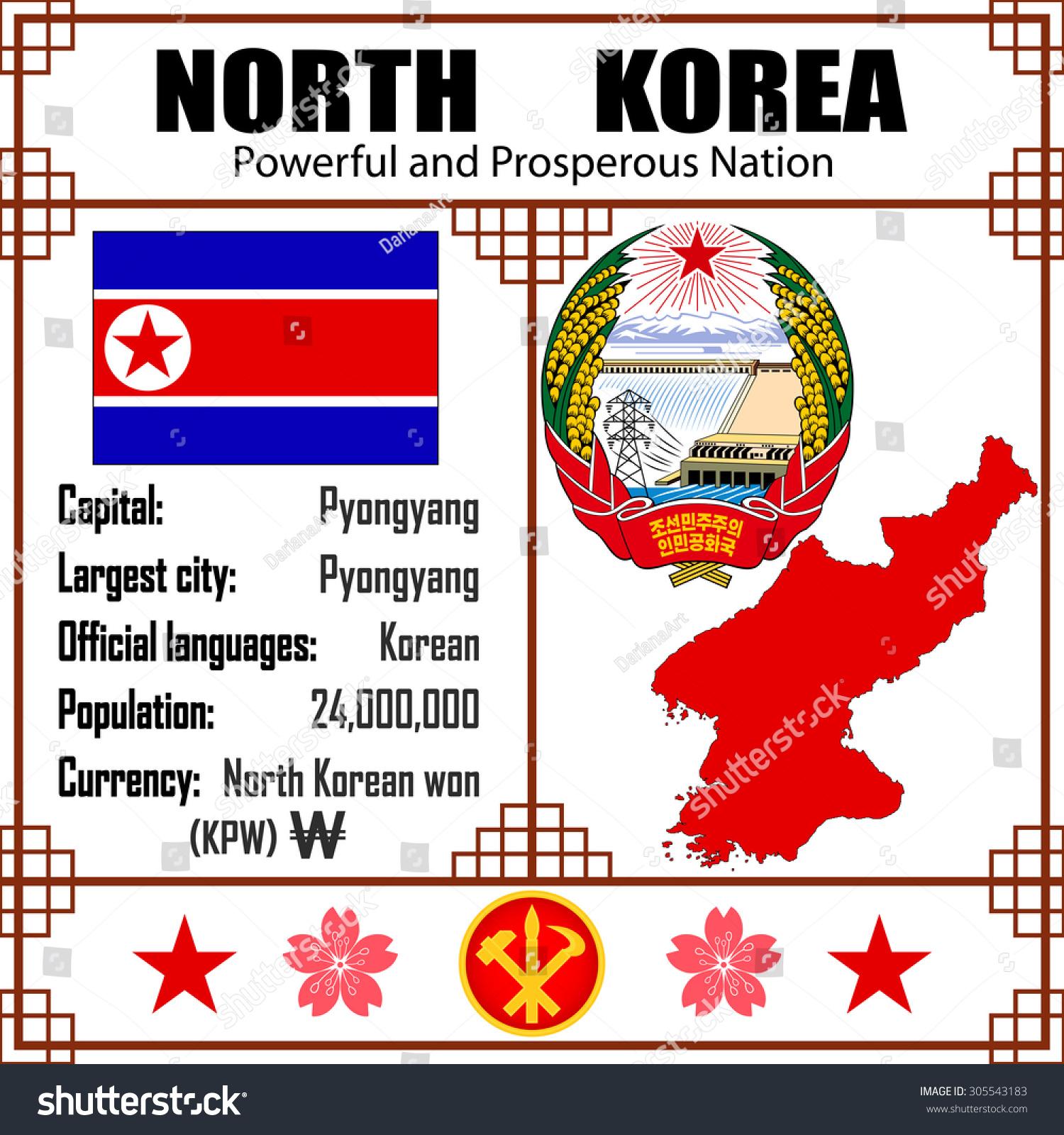 North Korea Set Map Signs Symbols Stock Vector Royalty Free
