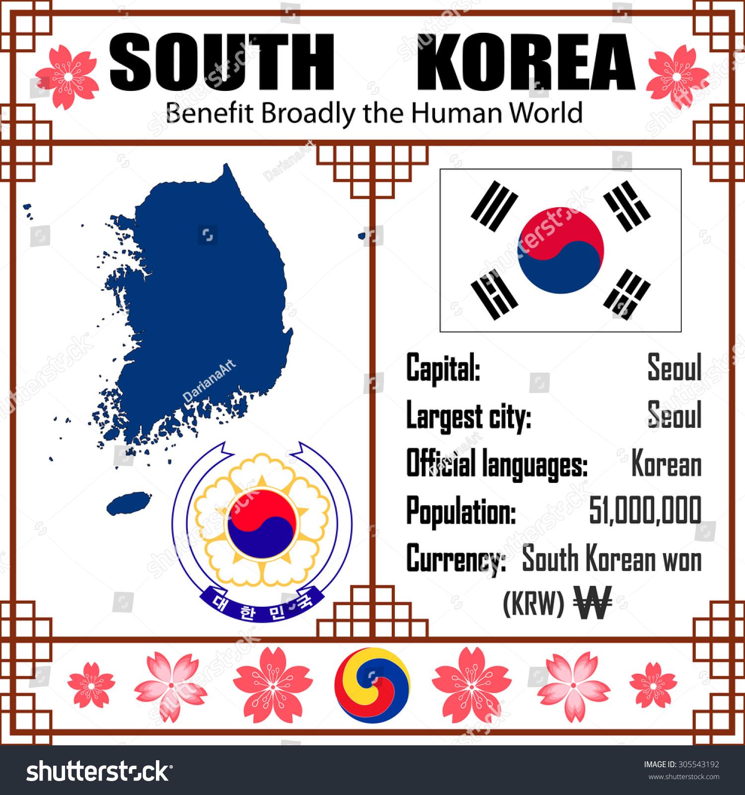 South Korea Set Map Signs Symbols Stock Vector Royalty Free