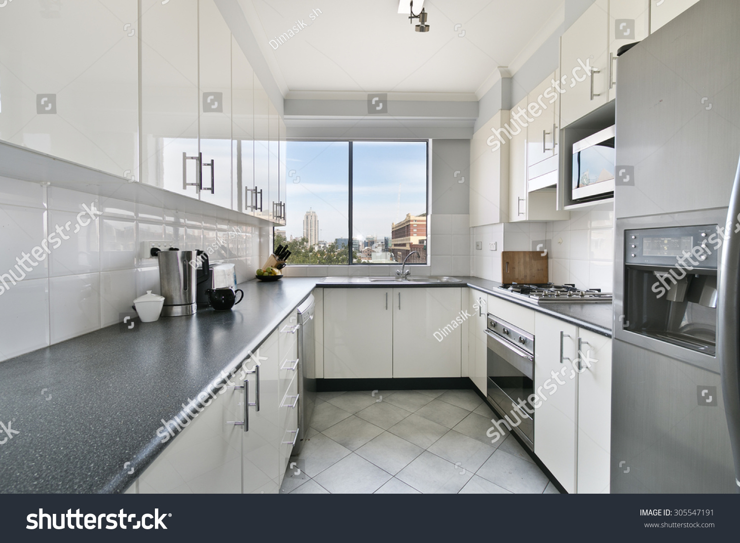 White New Small Simple Classic Kitchen Stock Photo Edit Now 305547191