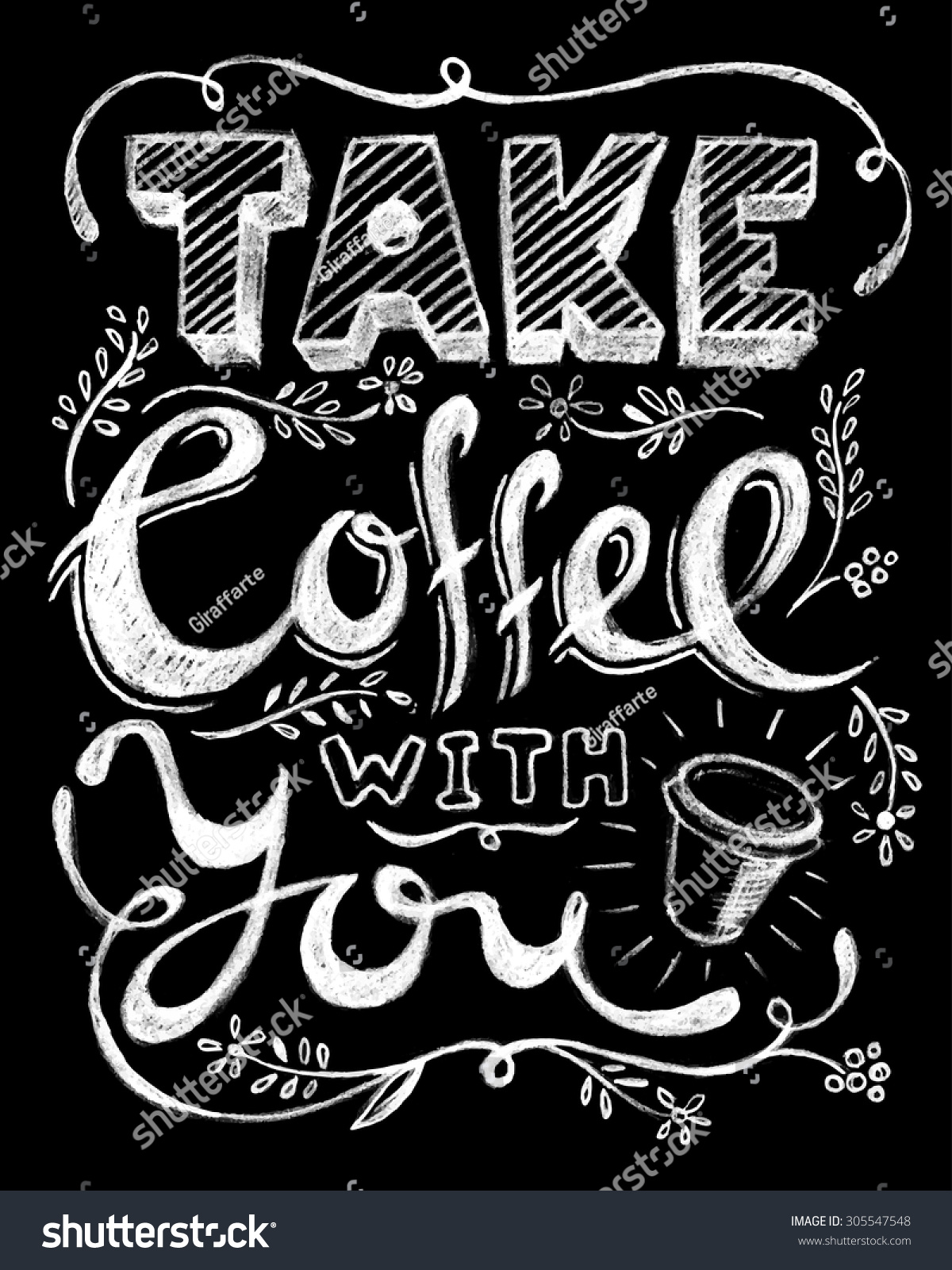 Take Coffee You Lettering Coffee Quotes Stock Vector ...